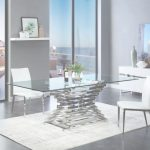 Contemporary Dining Furniture Nuevo Modrest Crawford Modern Rectangular Glass Dining Table