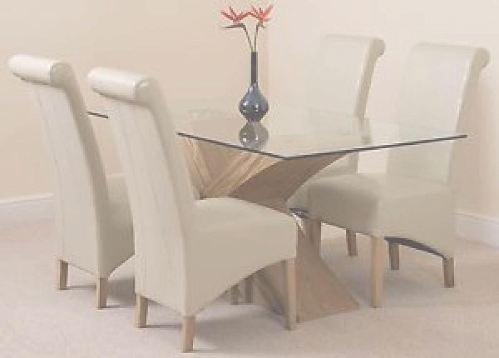 Glass Dining Table Genial Valencia Small Oak 160Cm Modern Glass Dining Table & 4 Ivory Leather