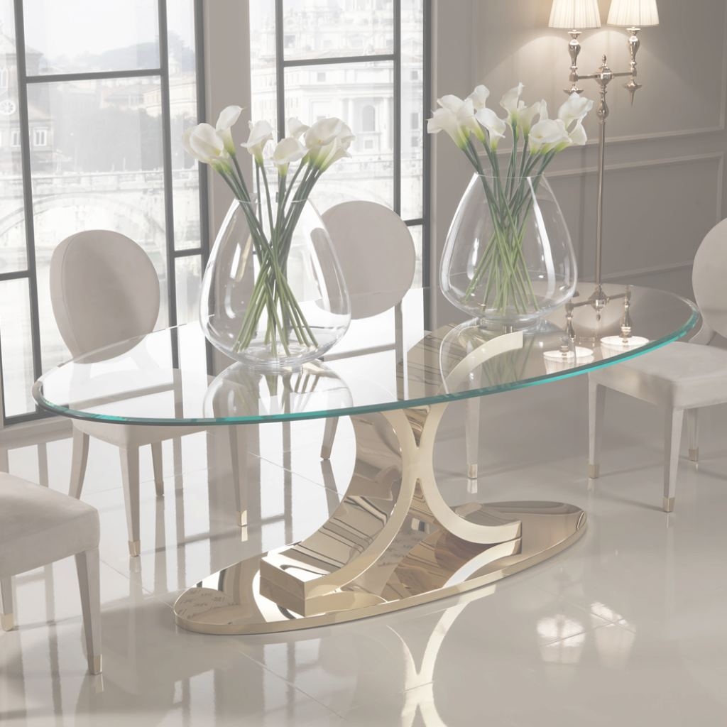 Glass Dining Table Increíble Designer 24 Carat Gold Plated Oval Glass Dining Table | Juliettes