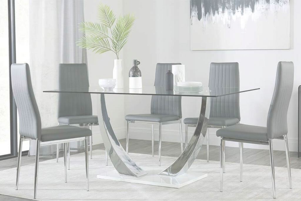 Glass Dining Table Nuevo Glass Dining Table & Chairs - Glass Dining Sets | Furniture Choice