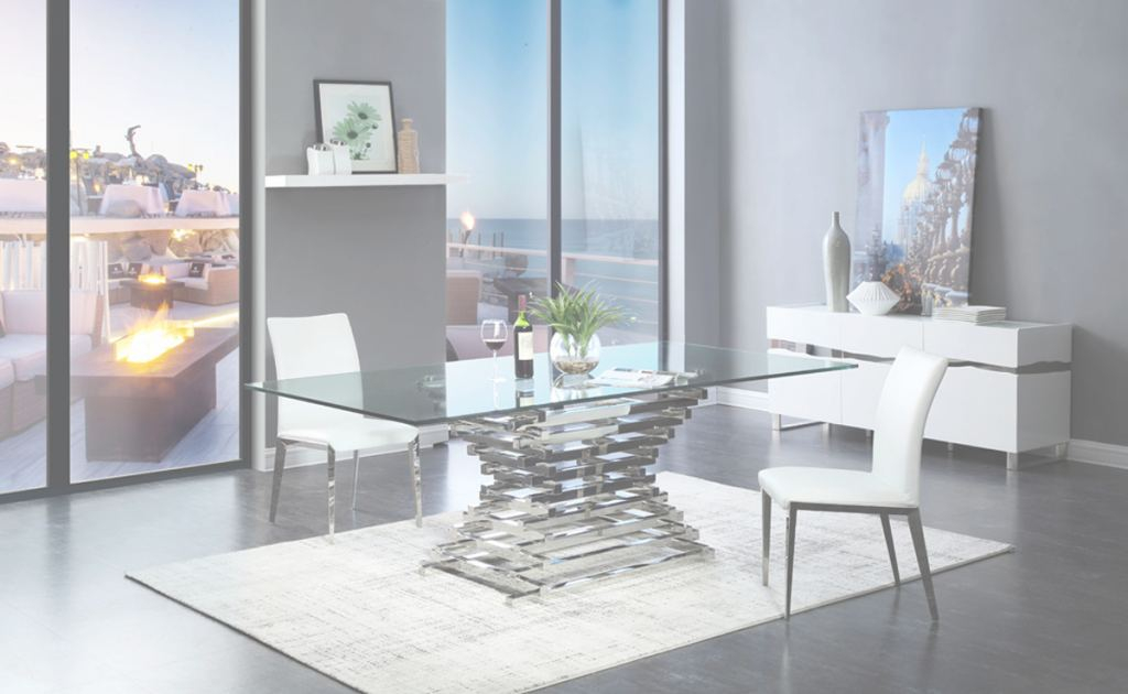 Glass Dining Table Nuevo Modrest Crawford Modern Rectangular Glass Dining Table