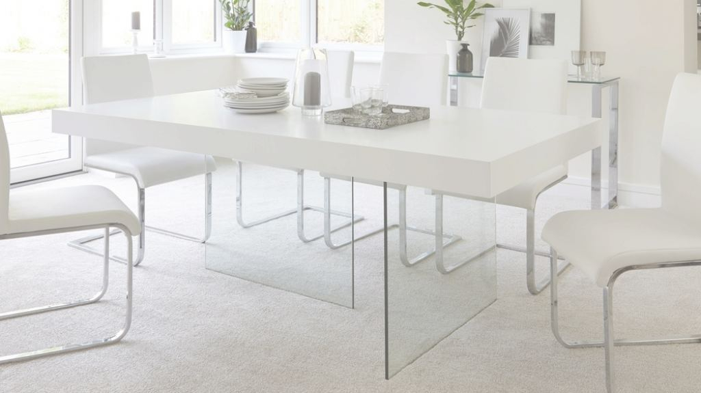 Glass Dining Table Único Modern White Oak Dining Table | Glass Legs | Seats 6 - 8