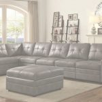 Grey Leather Sectional Lujo Ellington Contemporary 5 Seat Grey Leather Sectional With Padded