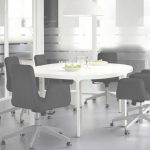 Mesa De Reuniones Ikea Encantador A Meeting Room Furnished With Black Swivel Chairs And A Conference