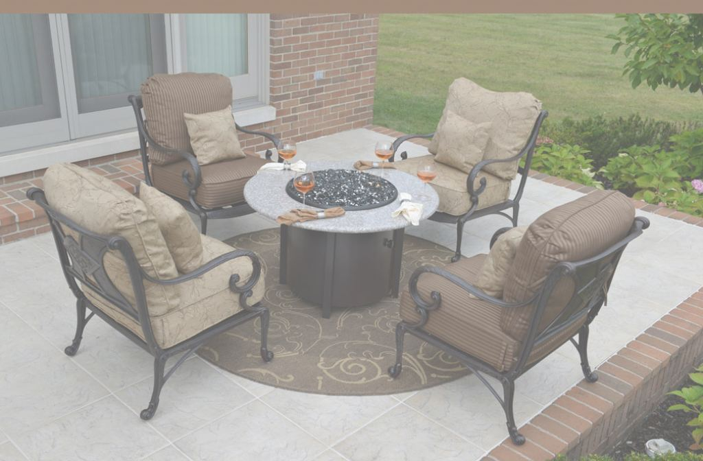 Outdoor Patio Furniture With Fire Pit Moderno Amalia 4-Person Luxury Cast Aluminum Patio Furniture Chat Set W/fire