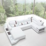 White Leather Sectional Único Massimo Modern White Leather Sectional Sofa