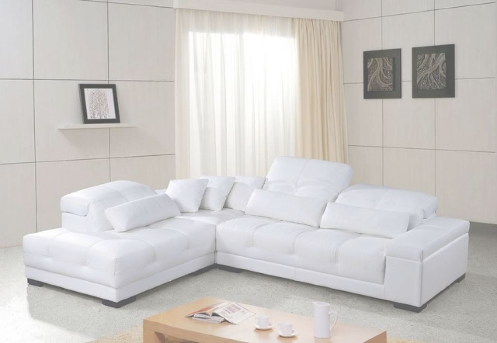 White Leather Sectional Único White Leather Sectional Sofa With Adjustable Headrests - Modern